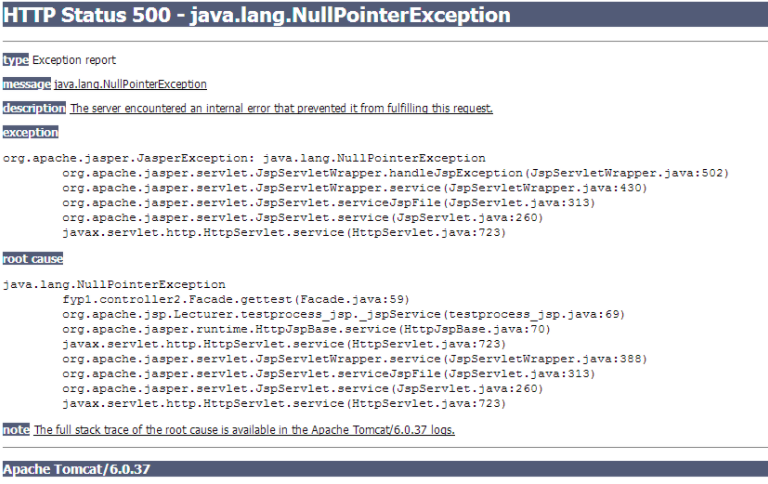 error 500: java.lang.nullpointerexception