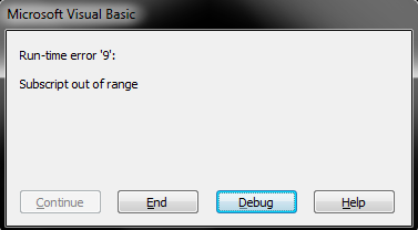 run time error 9 subscript out of range fix